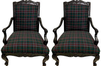 One Kings Lane Vintage French Style Plaid Chairs - Set of 2 - Von Meyer Ltd.