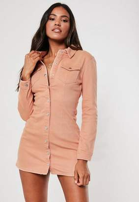 Missguided Petite Pink Button Through Fitted Denim Dress
