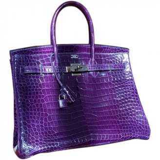 Hermes Birkin 35 Purple Crocodile Handbags