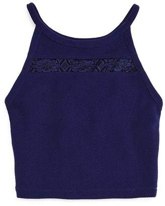 Aqua Girls' Textured Tank with Lace Cutout, Big Kid - 100% Exclusive