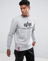 Alpha Industries Logo Crew Sweatshirt In Grey Marl