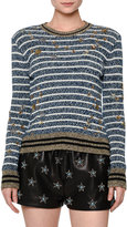 Valentino Striped Star-Embellished Sweater, Blue/White/Gold