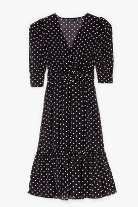 Nasty Gal Womens Polka Dot Over You Belted Midi Dress - Black