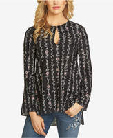 CeCe Printed Bell-Sleeve Top