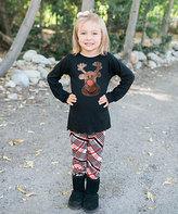 Beary Basics Black Reindeer Tunic & Red Plaid Leggings - Toddler & Girls