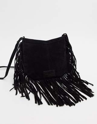 Urban Code Urbancode real suede fringe shoulder bag-Black