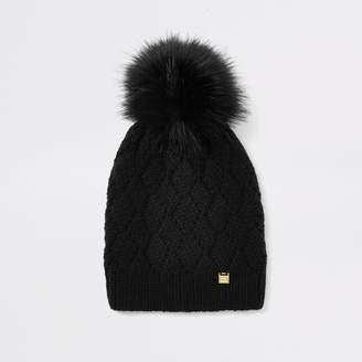 River Island Womens Black faux fur pom pom beanie hat