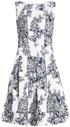 Oscar de la Renta Sleeveless Floral Fit-&-Flare Dress