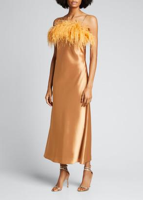 Cinq à Sept Cerise Satin Feather-Trim Slip Dress
