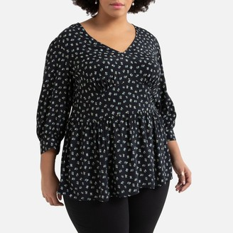La Redoute Collections Plus Floral Print Blouse with 3/4 Length Sleeves and V-Neck