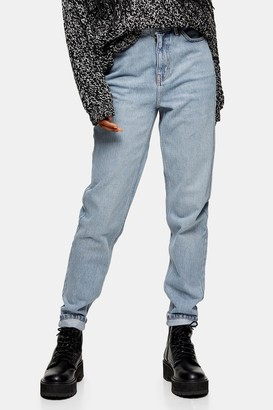 Topshop Womens Bleach Wash Mom Tapered Jeans - Bleach Stone