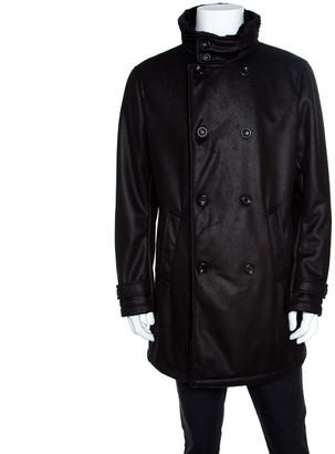 Armani Collezioni Black Faux Leather Shearling Lined Hooded Overcoat XXL