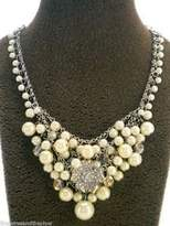 "Carolee Crystal Palace"" AB Crystal and Simulated Pearl Cluster Necklace, 16"""