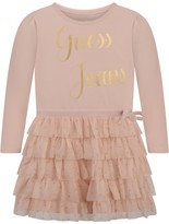 GUESS Peach Jersey & Tulle Dress