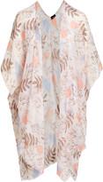 BEIGE Lvs Collections LVS Collections Women's Kimono Cardigans  Leaf Cape-Sleeve Kimono - Women