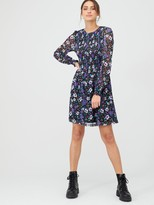 Very Smocked Balloon Mesh Sleeve Dress - Lilac/Floral