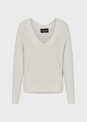 Emporio Armani Mixed-Cashmere, Ribbed Sweater With Wide Sleeves