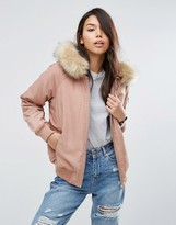 Asos Padded Bomber Jacket with Faux Fur Hood