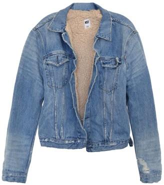 NSF Jesse Oversized Faux Shearling-Lined Denim Jacket