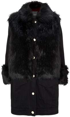 Pinko Denim and Faux Fur Coat