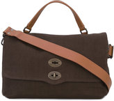 Zanellato large flap tote - unisex - Leather/Canvas - One Size