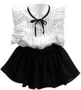 FEITONG Girls Stripe Shirt Chiffon Culottes 2 Pieces Set Clothes Skirt Suit (Age:2-3Y)