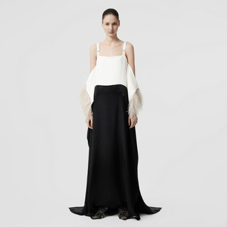 Burberry Feather Trim Crepe and Silk Satin Gown