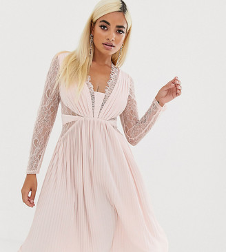 ASOS DESIGN Petite lace and pleat long sleeve midi dress