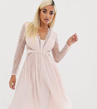 Asos DESIGN Petite lace and pleat long sleeve midi dress-Beige