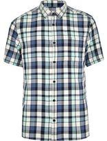 River Island MensBlack washed check short sleeve shirt