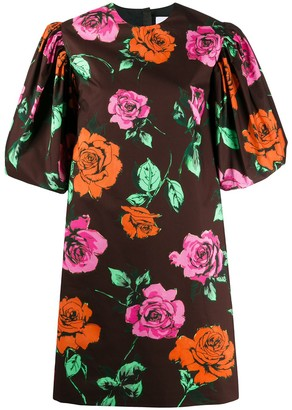 MSGM Rose-Print Puff Sleeved Dress