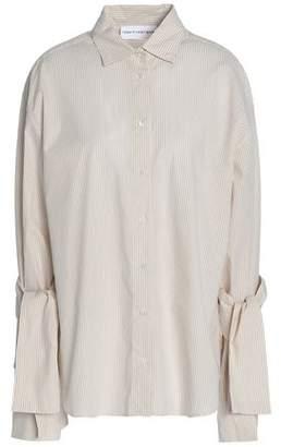 Robert Rodriguez Tie-detailed Striped Cotton-poplin Shirt
