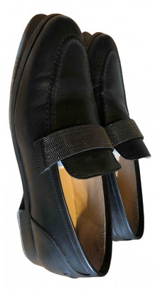 Brunello Cucinelli Black Leather Flats