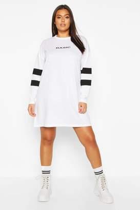 boohoo Plus Stripe Sleeve Basic T-shirt Dress