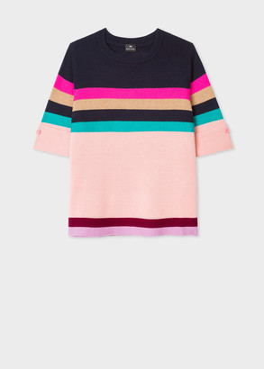 Paul Smith Women's Wool And Cotton-Blend Knitted Stripe Top