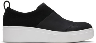 Toms Black Leather Suede Amber Slip-On