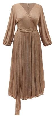Maria Lucia Hohan Millie Metallic Mesh Wrap Dress - Rose Gold