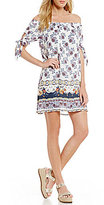 Sequin Hearts Floral Paisley Off-The-Shoulder Tie-Accent Border-Print Shift Dress