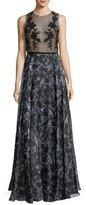 Sachin + Babi Susie Mixed-Media Sleeveless Mesh Printed Evening Gown