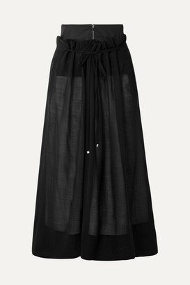 Tibi Layered Wool-blend Midi Skirt - Black