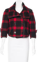 Burberry Leather-Trimmed Plaid Jacket