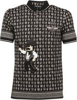Dolce & Gabbana Black Cowboy Patch Printed Polo Shirt