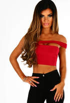 Pink Boutique One Dance Red Slinky One Shoulder Crop Top