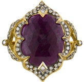 Cathy Waterman Large Rose Cut Ruby Arabesque Ring - 22 Karat Gold