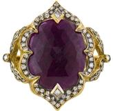 Cathy Waterman Large Rose Cut Ruby Arabesque Ring - 22 Karat Gold