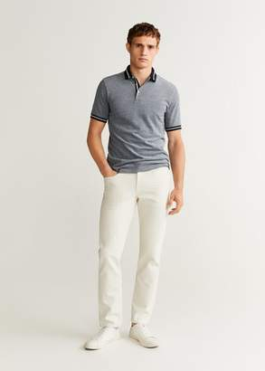 MANGO Contrast-edge cotton polo shirt