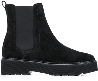 Tod's Suede Platform Ankle Boots