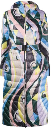 Emilio Pucci Belted Abstract-Print Padded Coat
