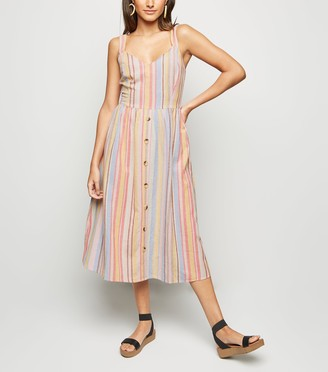 New Look Multi Stripe Button Front Midi Dress