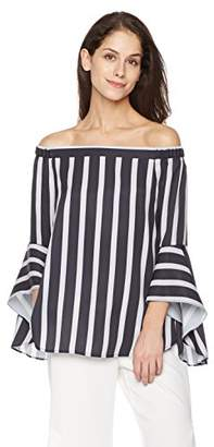 Suite Alice Women's Off Shoulder High Low Bell Sleeve Print Woven Blouse